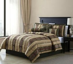 King Size Bedding Gold Damask Comforter Bedspread Set Classi