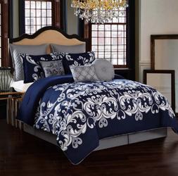 King Size or Queen Comforter Set Bedding Navy Blue Silver El