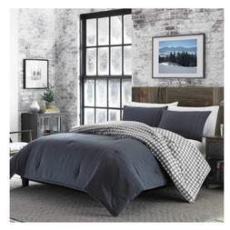Eddie Bauer Kingston Charcoal Gray Flannel 3pc Comforter Pla