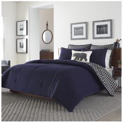 Eddie Bauer Kingston Navy Blue Flannel 3pc King Comforter Se