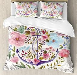 Kitchen Decor Duvet Cover Set by Ambesonne, Nautical and Flo
