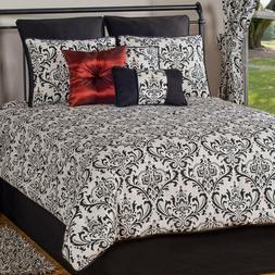 Classic Black & White Comforter Bedding Set w Shams & Skirt