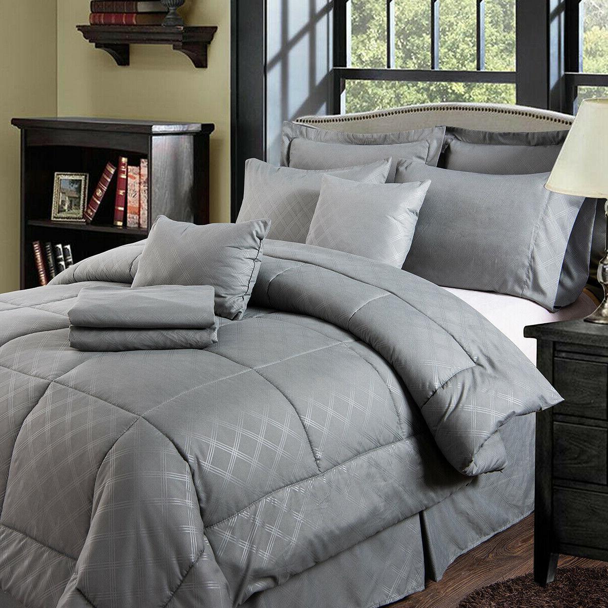 10-piece Solid Plaid Comforter Set