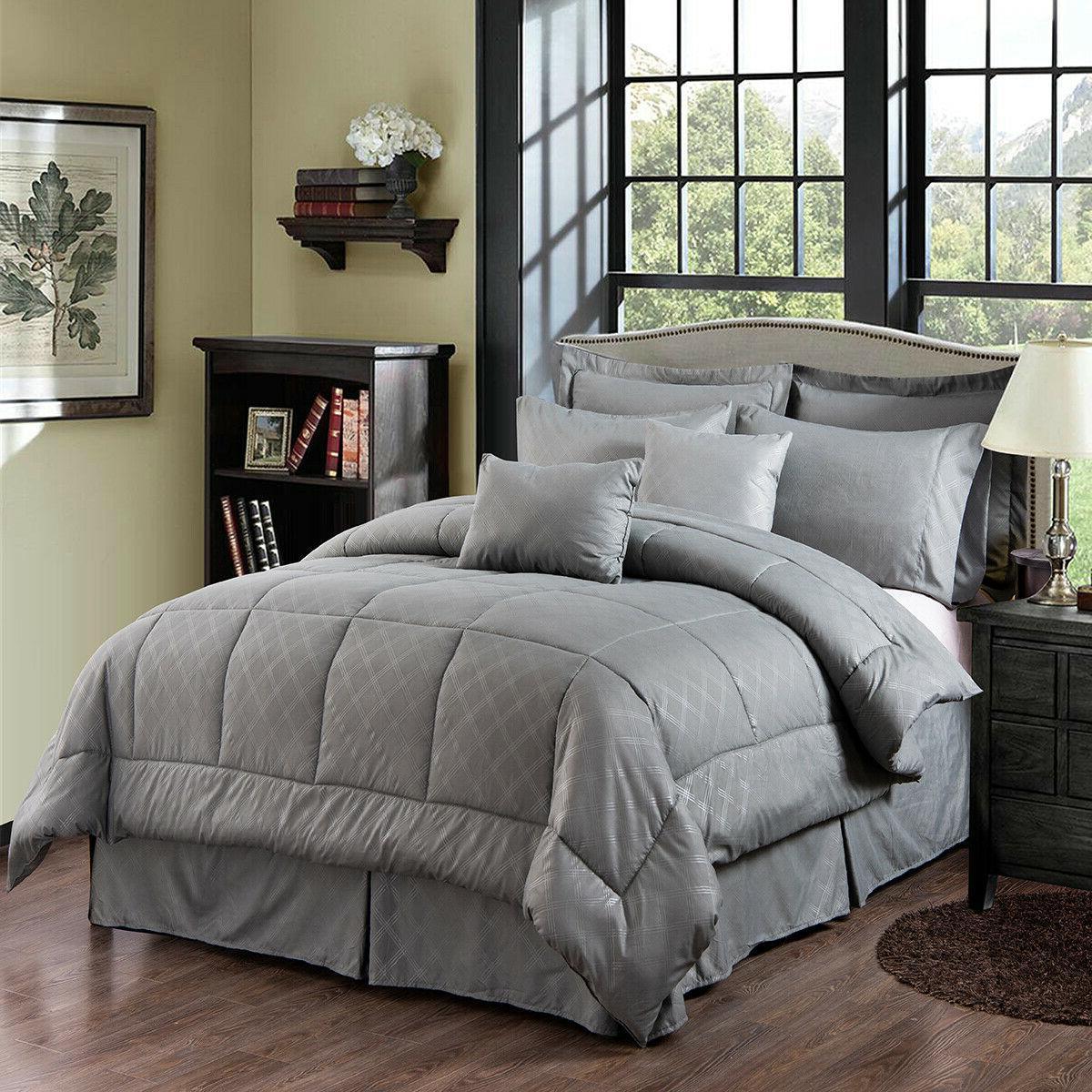 10-Piece Comforter Reversible Bedding King/Cal King
