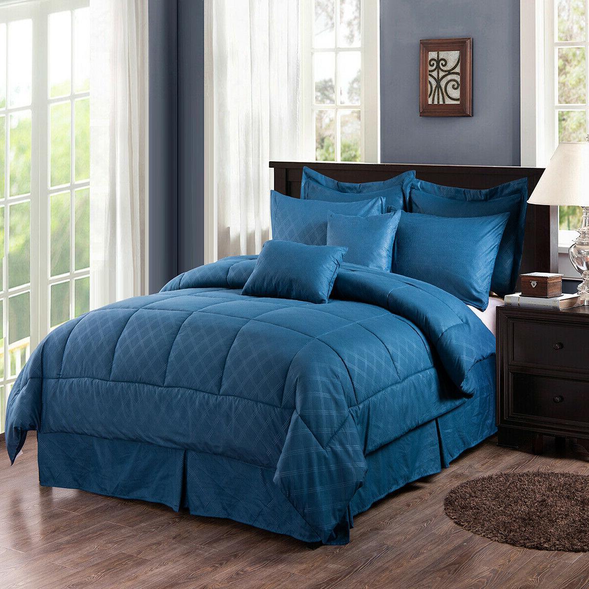 10-Piece Comforter Set Reversible Bedding + Bed King/Cal King
