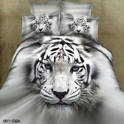 100% Cotton White Tiger King/Queen Size Bed Quilt/Duvet/Comf
