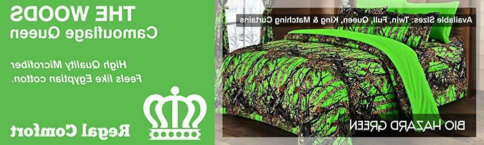 12 pc set Biohazard Woods Camo Queen size comforter sheets p