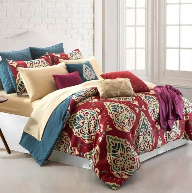 16 Piece Comforter Set Bedding Soft Elegant Flat Fitted Shee