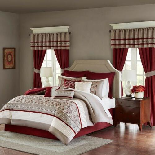 24pc Burgundy & Taupe Embroidered Comforter Set, Sheets, Pil