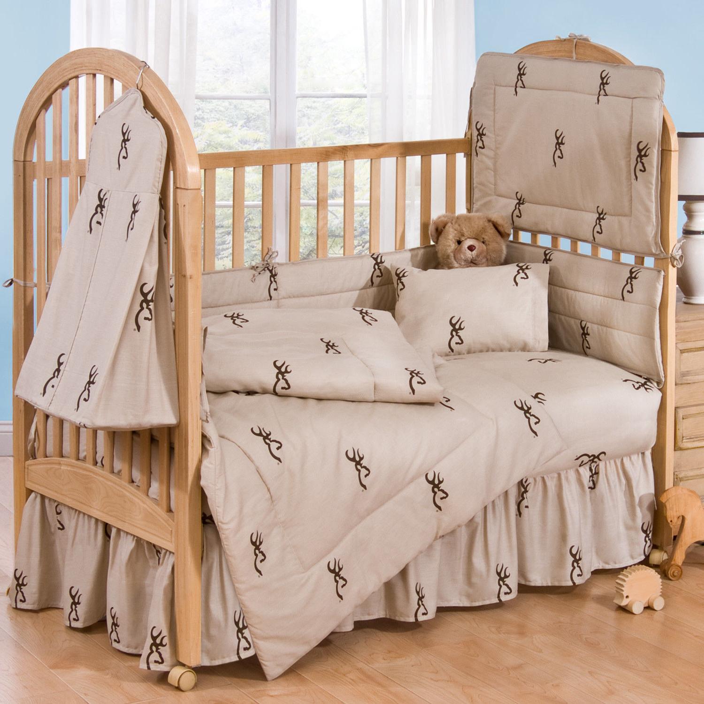 3 8 pc tan buckmark crib nursery