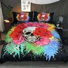 Sleepwish 3 Piece Flower Skull Bedding Rainbow Color Splash