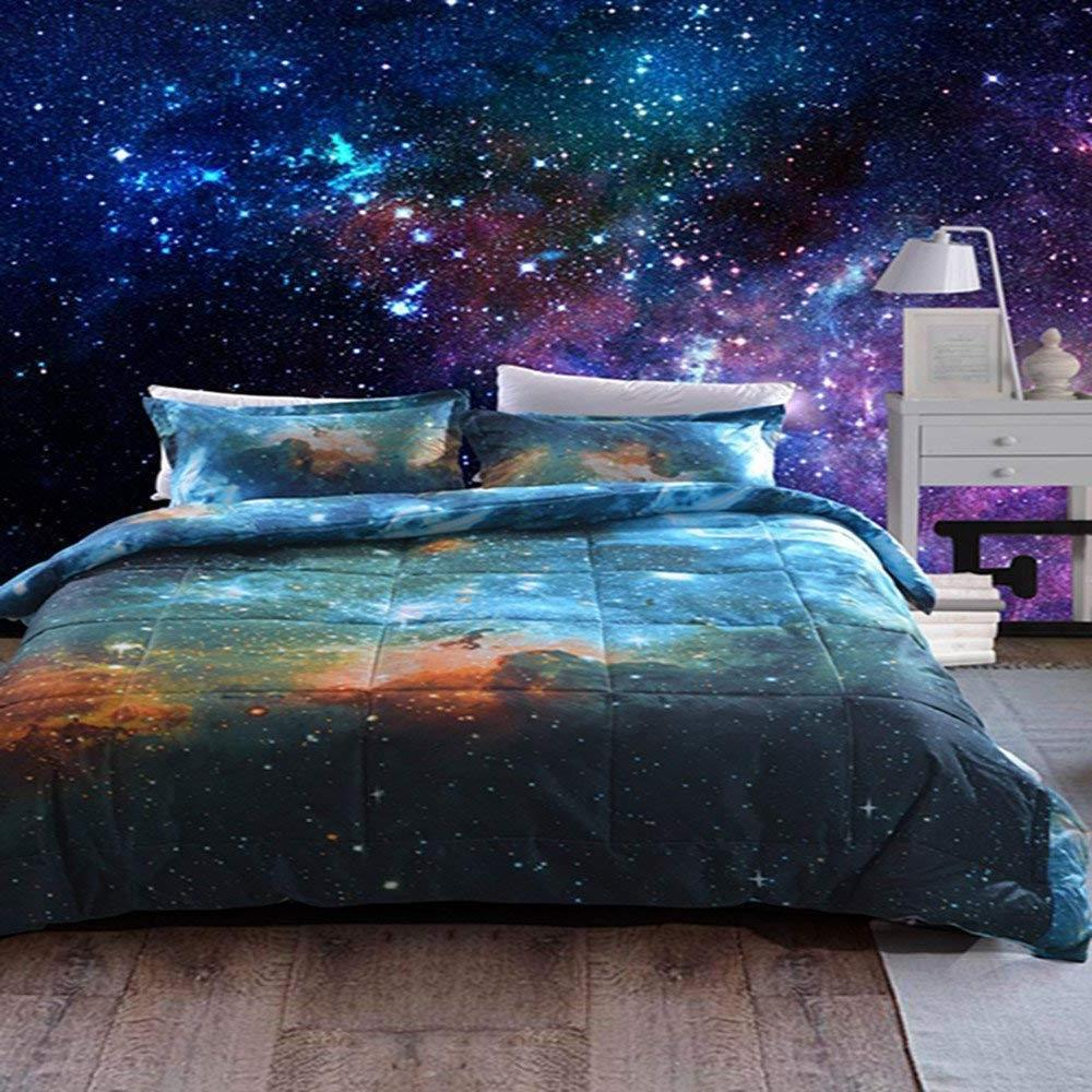3 Pieces Galaxy Down Alternative Comforter set With 2 Matchi