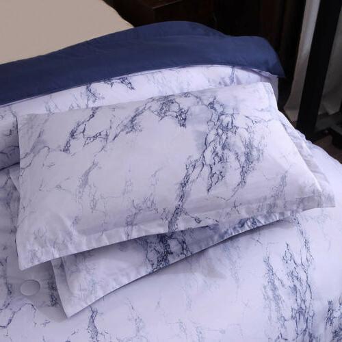 3 Marble Duvet Quilt Comforter Set Zipper Closure Printed Bedding