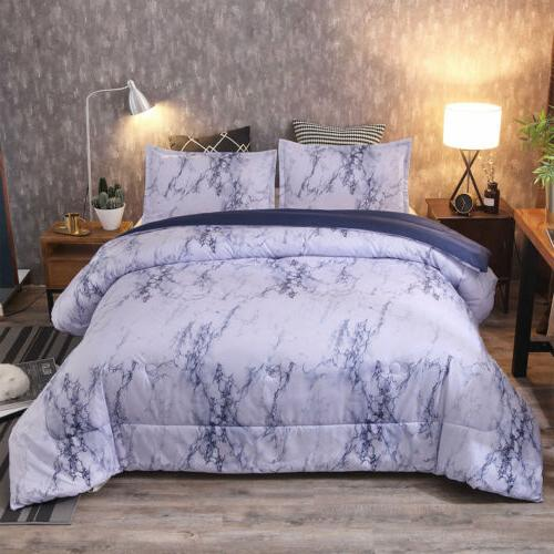 3 Pieces Set Comforter / Cover Marble Microfiber King