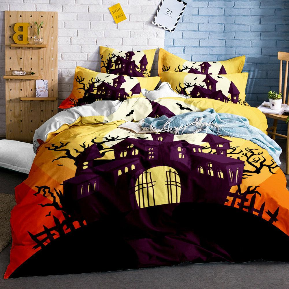 3D Halloween Jack Bedding Set Duvet Cover 3PCS Pillowcases Q