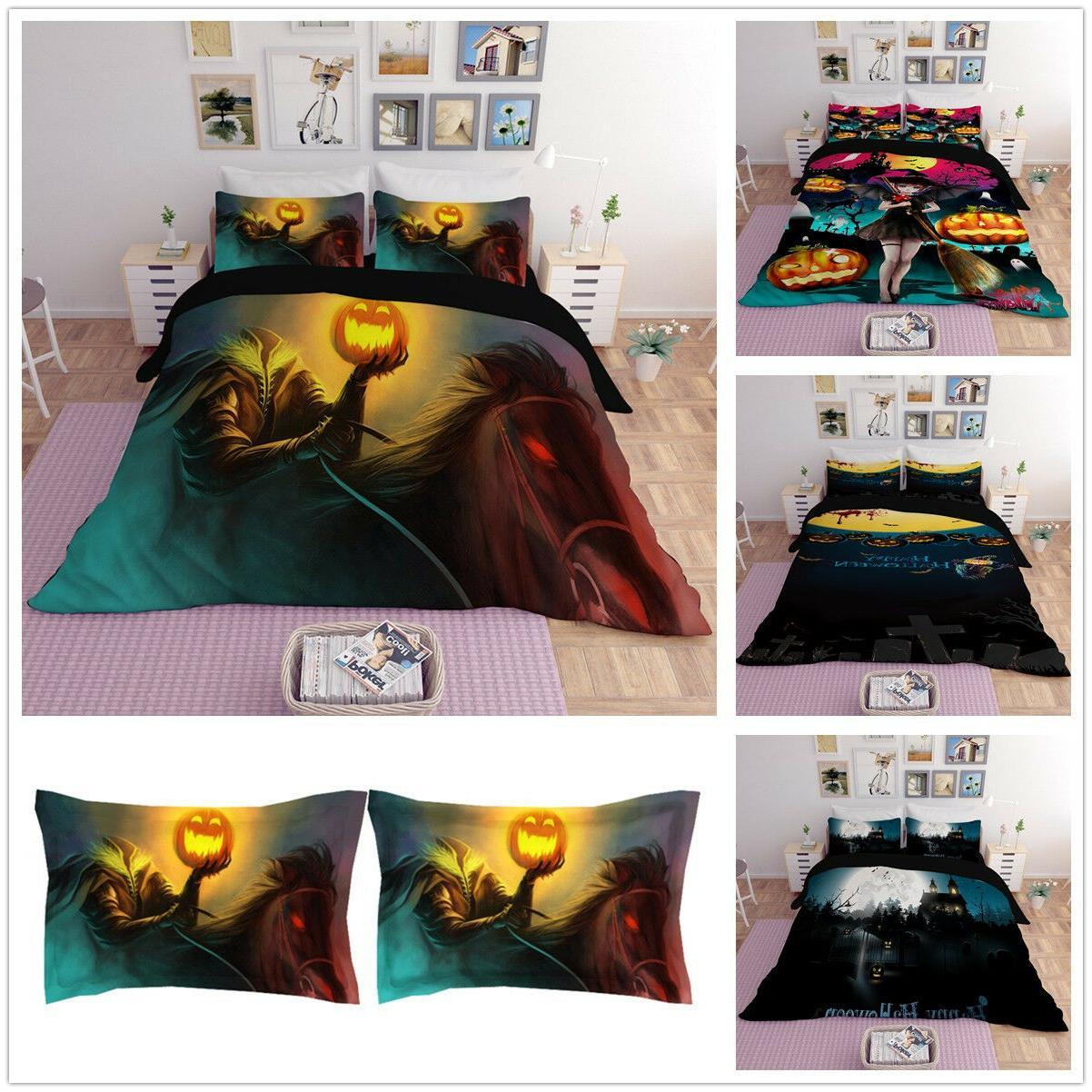 3D Pumpkin Devil Witch Duvet Cover Bedding Set Halloween Com