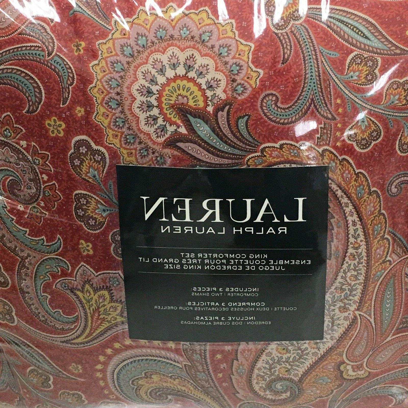 Ralph Lauren 3PC King Comforter Set Red with Multi-color Flo