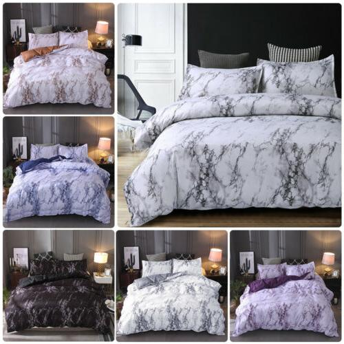 3 Pieces / Duvet Quilt Marble Printed