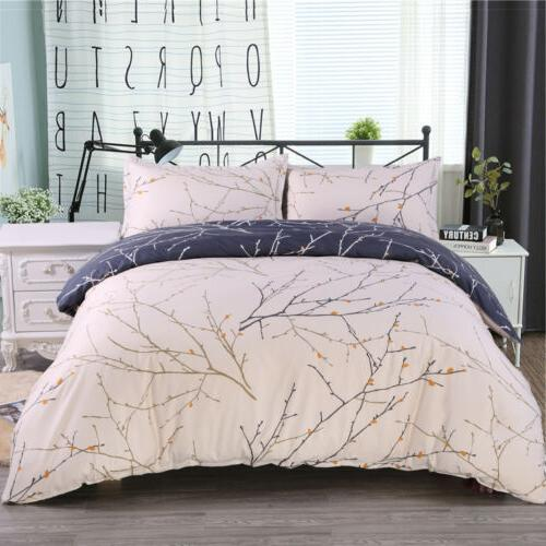 3Pcs Reversible Printed Duvet Cover Pillowcase Bedding Set C