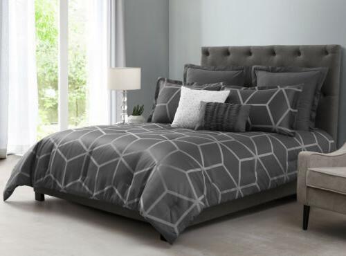 5 piece modern gray geometric lattice jacquard