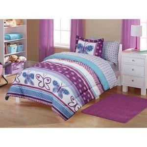 5pc Girl Purple Blue Butterfly Polka Dot Twin Comforter Set