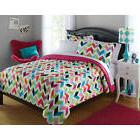 6 College Girl Bright Chevron Bedding Comforter Set Bed In A