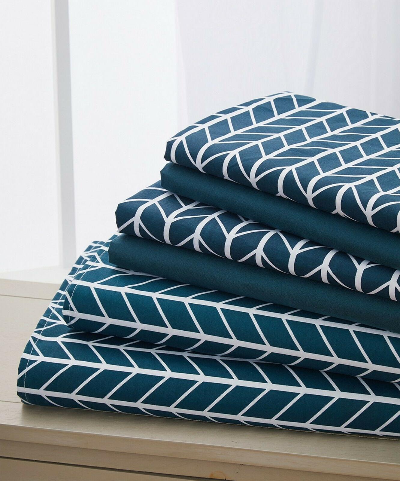6 piece herringbone pattern bed sheet set