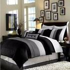 8pc Luxury Pintuck Pleated Stripe Black, Gray, and White Com