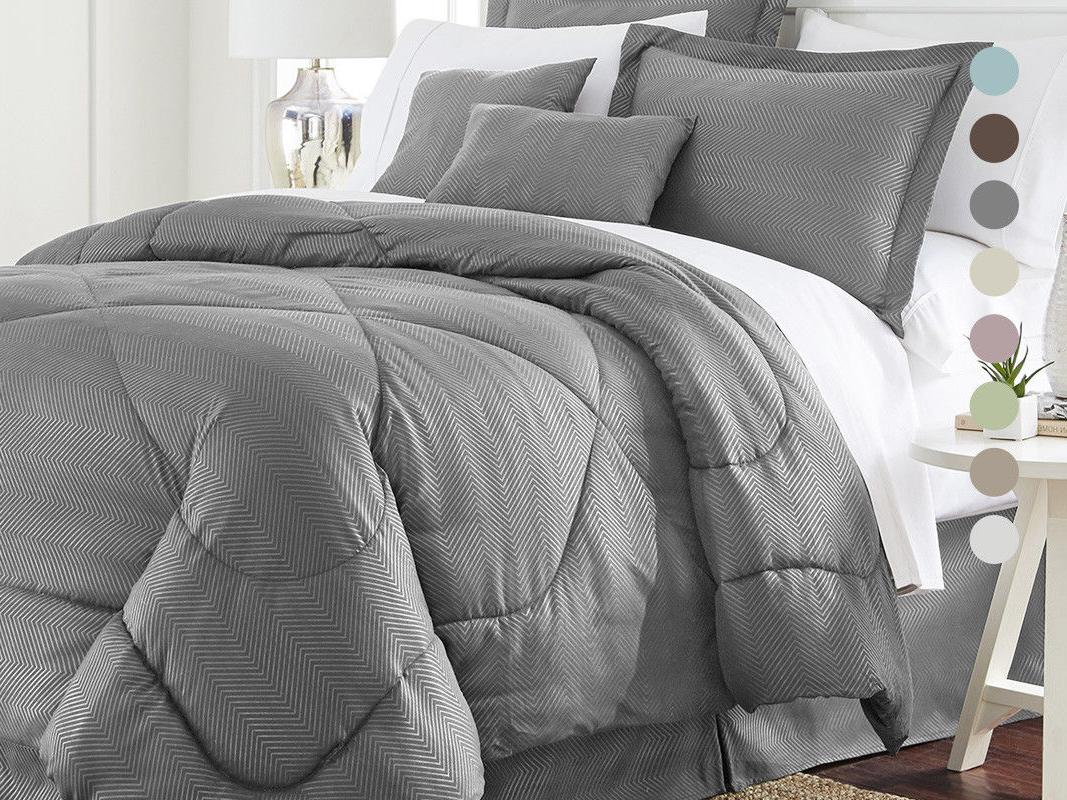 6 piece set chevron embossed comforter set