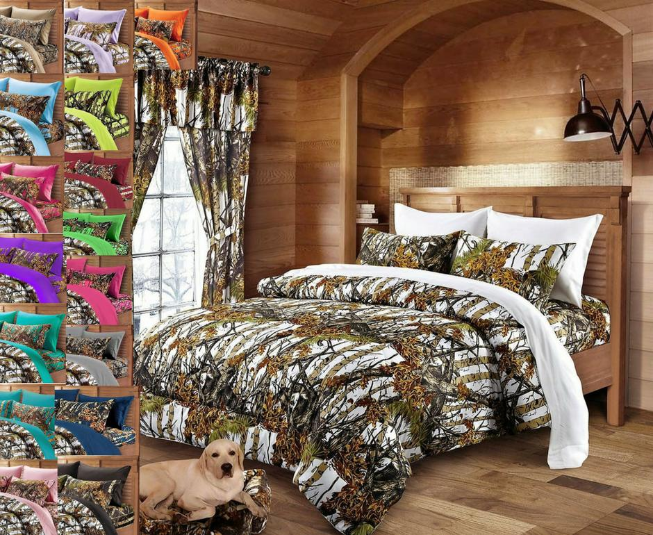 7 pc King White Camo comforter with Black Camo sheets and pi