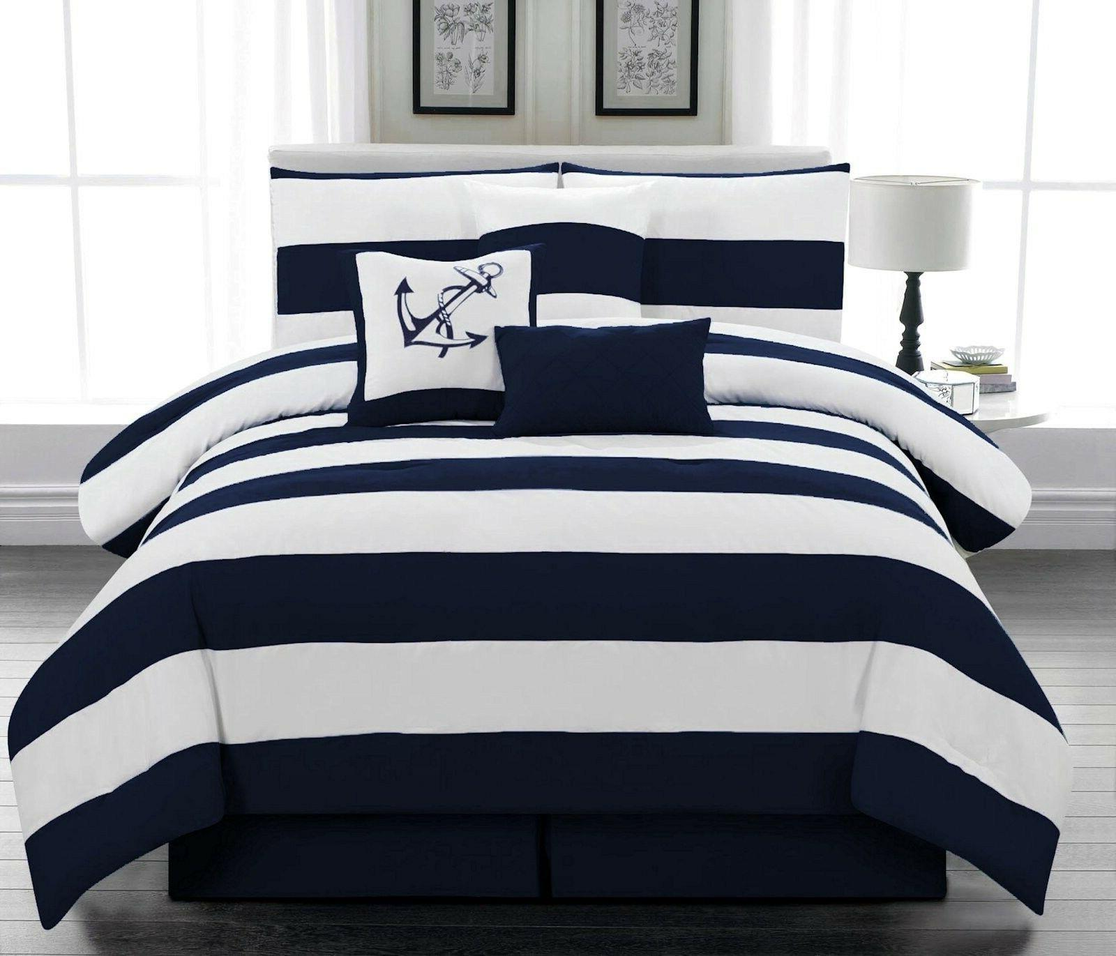 Microfiber Nautical Comforter set Navy Blue Striped Twin Ful