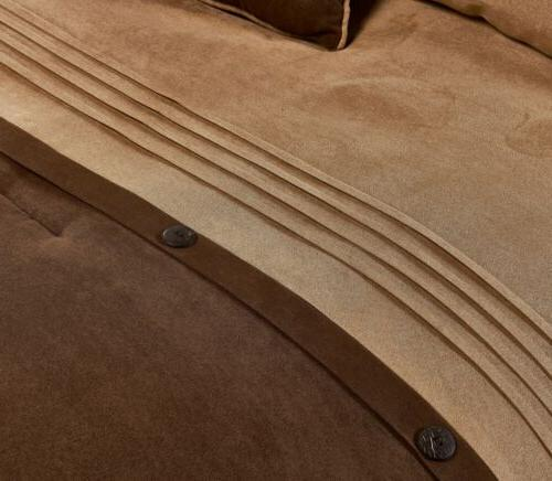 7-Piece Brown Lodge MicroSuede Comforter Set
