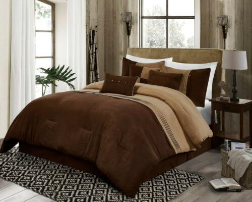 7 piece coffee brown western lodge microsuede