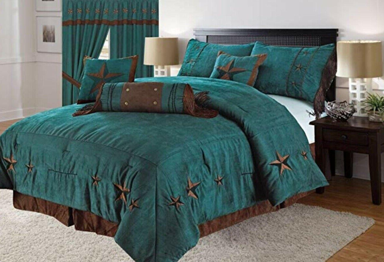 7 Piece Comforter Set Bedding Luxury Soft Embroidery Western
