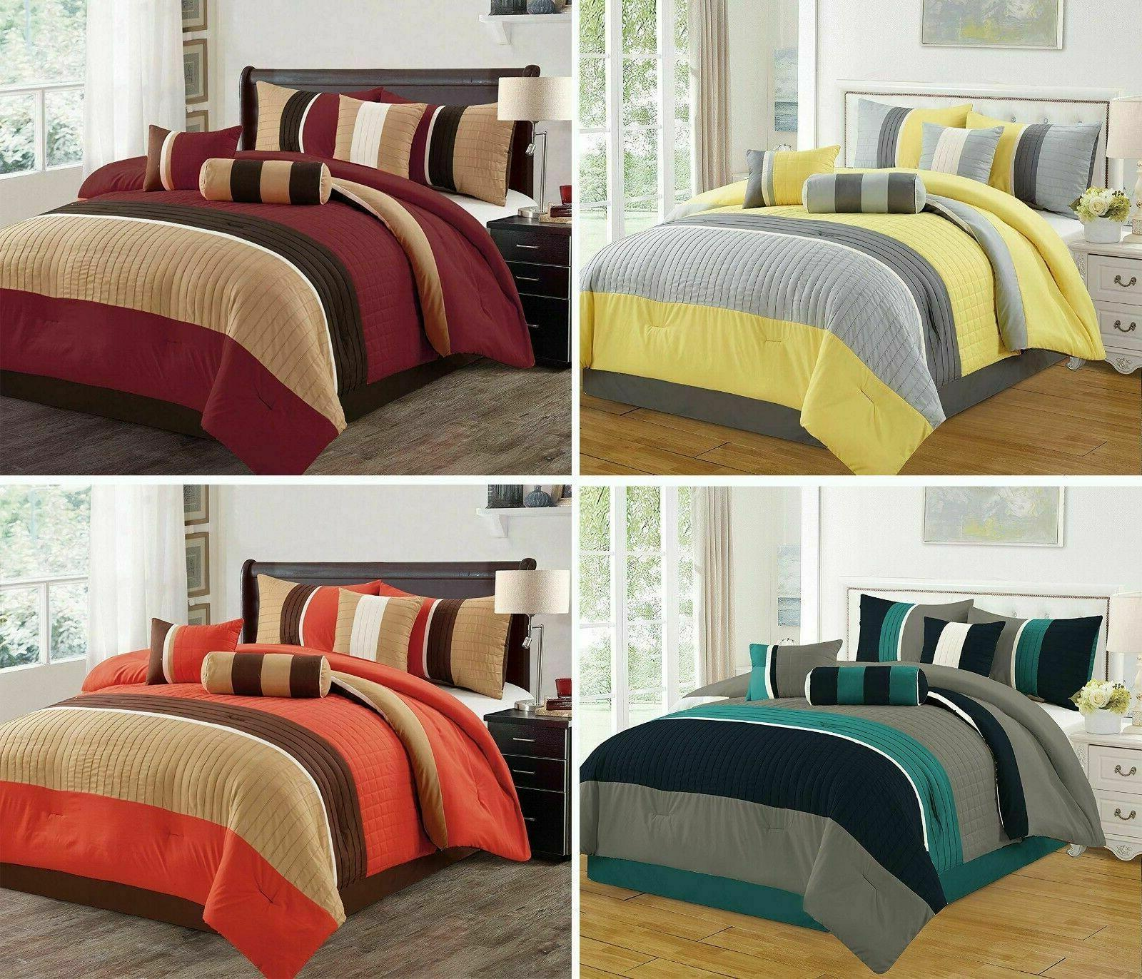 DCP 7 Piece Comforter Set Complete Bed in a Bag Stripe Plaid