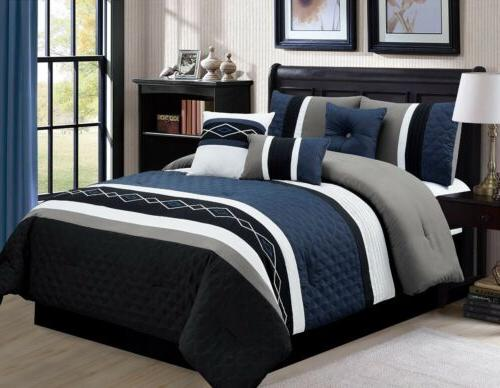 7 piece embroidered pleated stripe comforter set