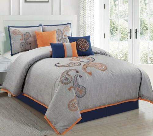 7 piece gray navy orange paisley embroidered