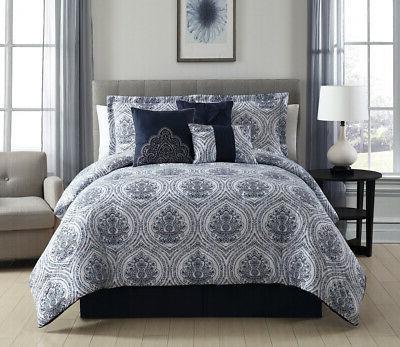 7 Kattya Blue Reversible Comforter Set