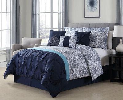 7 piece kattya blue reversible comforter set