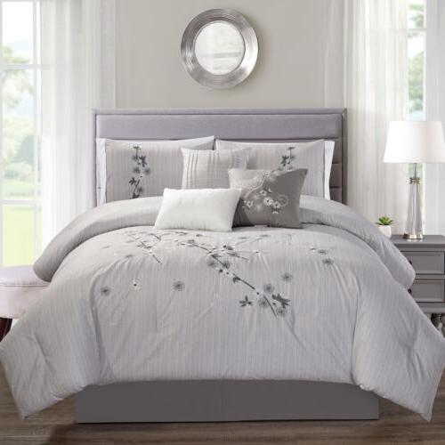7 piece luxurious floral branch embroidered comforter