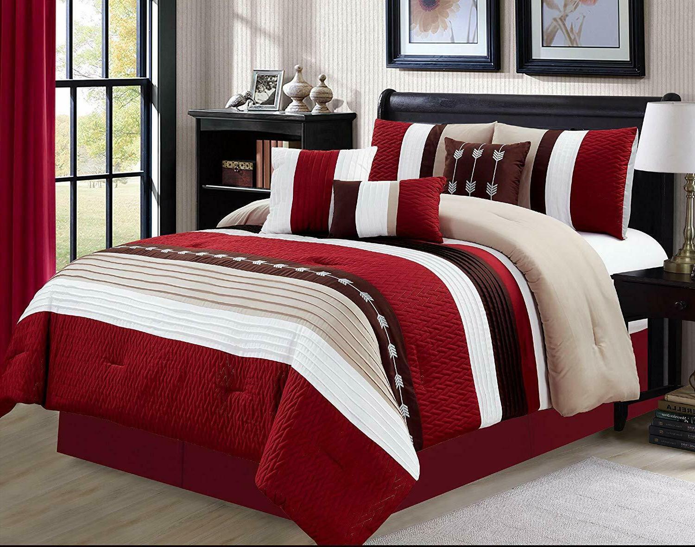 7 Piece Oversize Stripe Luxury Comforter Set,Bed in a Bag,Bu