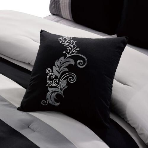 Chezmoi Collection 7-piece Leaves Scroll Embroidery Bedding Comforter Set
