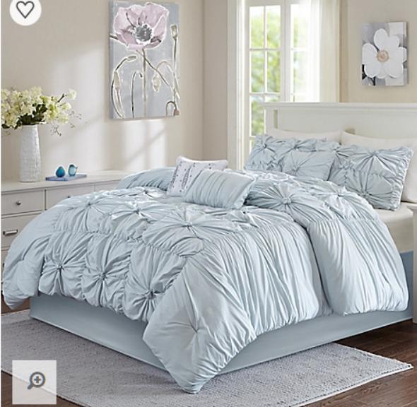 7 piece luxury queen comforter set bun