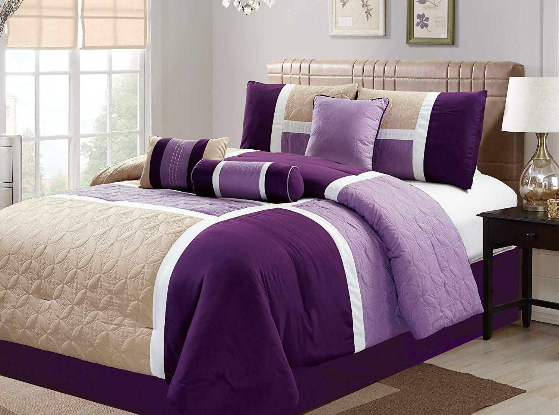 7 Piece Luxury Quilted Patchwork Comforter Set,bed in bag Ca