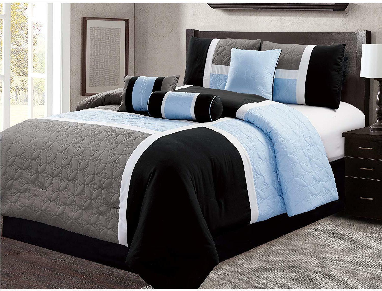 DCP 7 Piece Luxury Quilted Patchwork Bedding Comforter Set,