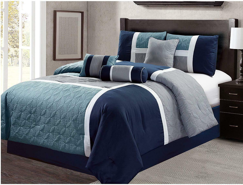 DCP 7 PcsLuxury Quilted Patchwork Comforter Set,bed in bag C
