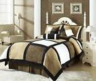 7-Piece Micro Suede Patchwork Comforter Set Bed-In-A-Bag Bla