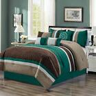 7 piece quatrefoil pleated striped comforter set