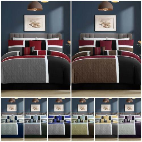 7 piece quilted patchwork comforter set