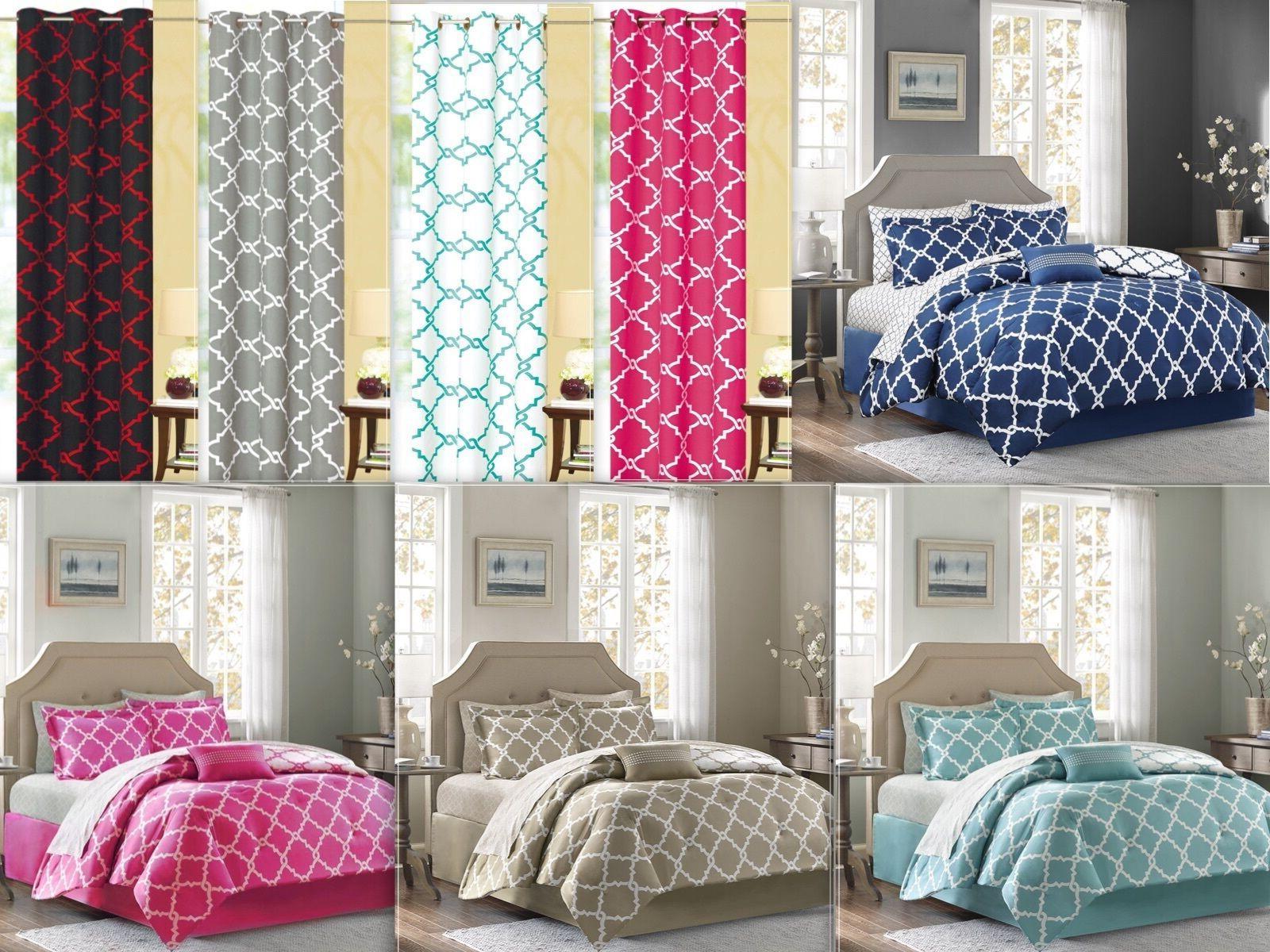 7 Piece Reversible Geometric Comforter Set With Curtain Set